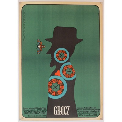 "Original Polish film poster 'Gracz"" (The Player). Poster design by: Jerzy Flisak, 1973"