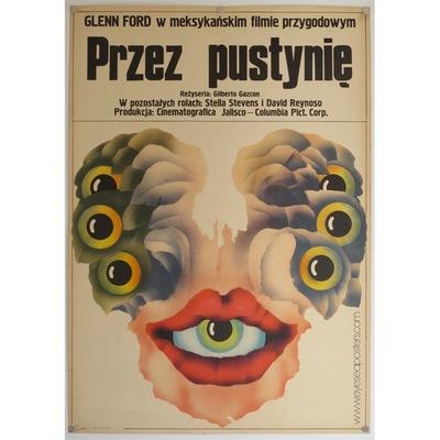 Original polish poster for american film 'Rage' (Przez Pustynie). Poster design by: Jakub Erol, 1966