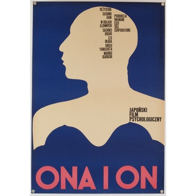 Original polish film poster 'Ona I On' (She and He). Poster design by: A. Przedworski, 1971