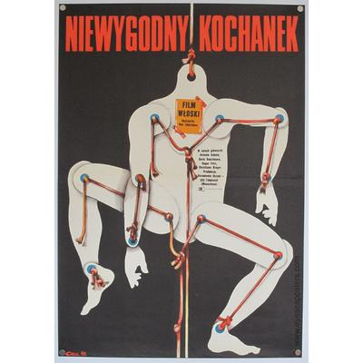 Original polish poster for film 'Niewygodny Kochanek' (Lovemaker). Poster design by Jakub Erol, 1973.