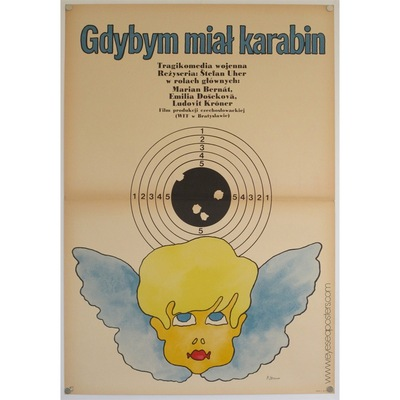Original polish poster for Czech Film Gdybym Mial Karabin (If I had a Gun). Poster Design by: Maciej Zbikowski, 1972