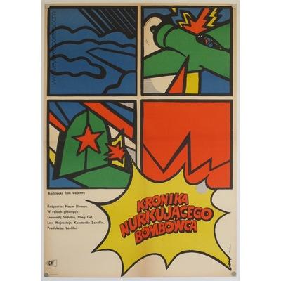 Original Polish film poster 'Kronika nurkujacego bombowca'. Poster design by: Jacek Neugebauer, 1968.
