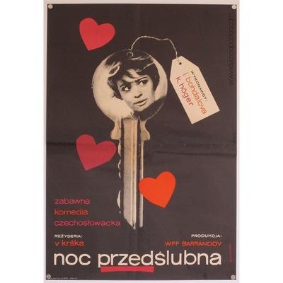 Original polish film poster 'Noc Przedslubna'. Poster design by: Liliana Baczewska, 1965.