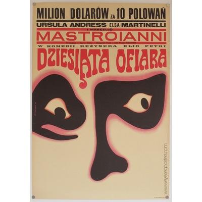 Original Polish poster for the Italian film 'The 10th Victim' (Dziesiata Ofiara). Poster design by: Wiktor Gorka, 1967.