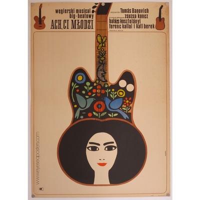 Original Polish film poster 'Ach, Ci Mlodzi'. Poster design by: Maciej Hibner, 1968