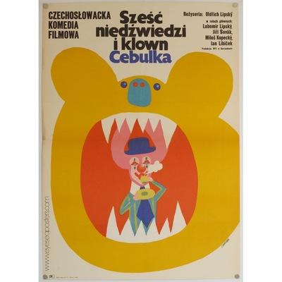 Original Polish film poster 'Szesc Niedzwiedzi I Klown Cebulka' (Six Bears and a Clown). Poster design by Maciej Zbikowski