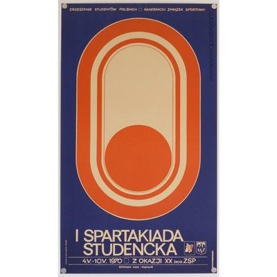 Original polish poster 'I Spartakiada Studencka'. Poster design by: Kapela, 1970.