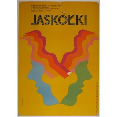 Original polish film poster 'Jaskolki'. Poster design by: Ewa Gargulinska, 1972.